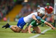 10 June 2018; Tom Devine of Waterford in action against Mike Casey of Limerick during the Munster GAA Hurling Senior Championship Round 4 match between Limerick and Waterford at the Gaelic Grounds in Limerick. Photo by Eóin Noonan/Sportsfile