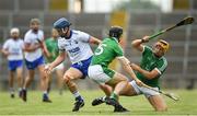 10 June 2018; Michael Walsh of Waterford in action against Graeme Mulcahy, left, and Tom Morrissey of Limerick during the Munster GAA Hurling Senior Championship Round 4 match between Limerick and Waterford at the Gaelic Grounds in Limerick. Photo by Ramsey Cardy/Sportsfile