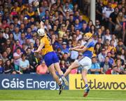 10 June 2018; Seamus Callanan of Tipperary in action against Patrick O'Connor of Clare during the Munster GAA Hurling Senior Championship Round 4 match between Tipperary and Clare at Semple Stadium in Thurles, Tipperary. Photo by David Fitzgerald/Sportsfile