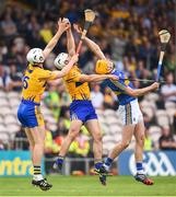 10 June 2018; Conor Cleary, left, and Patrick O'Connor of Clare in action against Seamus Callanan of Tipperary during the Munster GAA Hurling Senior Championship Round 4 match between Tipperary and Clare at Semple Stadium in Thurles, Tipperary. Photo by David Fitzgerald/Sportsfile