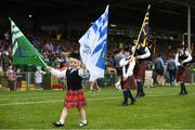 10 June 2018; Clodagh Purcell, age 4, of the CBS Pipe Band, during the pre-match parade ahead of the Munster GAA Hurling Senior Championship Round 4 match between Limerick and Waterford at the Gaelic Grounds in Limerick. Photo by Ramsey Cardy/Sportsfile