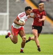 10 June 2018; Callum Brown of Derry in action against Oisin McConvey of Down during the Eirgrid Ulster GAA Football U20 Championship match between Down and Derry at St Tiernach's Park in Clones, Monaghan.  Photo by Oliver McVeigh/Sportsfile