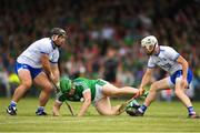 10 June 2018; Shane Dowling of Limerick in action against Noel Connors, left and Shane Fives of Waterford during the Munster GAA Hurling Senior Championship Round 4 match between Limerick and Waterford at the Gaelic Grounds in Limerick. Photo by Eóin Noonan/Sportsfile