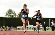 2 June 2018; Ciara Neville of Castletroy College, Co. Limerick, competing in the Senior Girls 100 Metres during the Irish Life Health All-Ireland Schools Track and Field Championships at Tullamore Harriers Stadium in Tullamore, Co. Offaly. Photo by Sam Barnes/Sportsfile