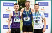 2 June 2018; Senior Boys 200 Metres medallists from left, David McDonald of CBS Wexford, Co. Wexford, silver, Aaron Sexton of Bangor Grammar, Co. Down, gold and Michael McAuley of St Louis Ballymena, Co. Antrim, bronze, during the Irish Life Health All-Ireland Schools Track and Field Championships at Tullamore Harriers Stadium in Tullamore, Co. Offaly. Photo by Sam Barnes/Sportsfile
