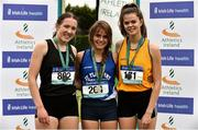 2 June 2018; Senior Girls 800m medallists, from left, Molly Browne of Castleknock CC, Co. Dublin, silver, Jo Keane of St Flannan's Ennis, Co. Clare, gold, and Alex O'Neill of Rice College Ennis, Co. Clare, bronze, during the Irish Life Health All-Ireland Schools Track and Field Championships at Tullamore Harriers Stadium in Tullamore, Co. Offaly. Photo by Sam Barnes/Sportsfile