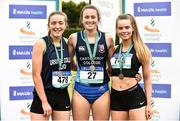2 June 2018;  Senior Girls 200 Metres medallists, from left, Lauren Cadden of Ursuline Sligo, Co. Sligo, silver, Ciara Neville of Castletroy College, Co. Limerick, gold, and Lauran Roy of St Patrick's Ballymena, Co. Antrim, bronze, during the Irish Life Health All-Ireland Schools Track and Field Championships at Tullamore Harriers Stadium in Tullamore, Co. Offaly. Photo by Sam Barnes/Sportsfile