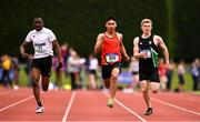 2 June 2018; Athletes, from left, Glory Wenegieme of Col Muire Crosshaven, Co. Cork, Shane Gevero of CBC Monkstown, Co. Dublin and Rory Carson of Sullivan Upper Holywood, Co. Down, competing in the Junior Boys 200 Metres   during the Irish Life Health All-Ireland Schools Track and Field Championships at Tullamore Harriers Stadium in Tullamore, Co. Offaly. Photo by Sam Barnes/Sportsfile