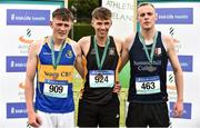2 June 2018; Senior Boys 400 Metres medallists, from left, Tony O'Connor of Naas CBS, Co. Kildare, silver, Mark Glynn of Patrician Newbridge, Co. Kildare, gold, and Leo Doherty of Summerhill College Sligo, Co. Sligo, bronze,   during the Irish Life Health All-Ireland Schools Track and Field Championships at Tullamore Harriers Stadium in Tullamore, Co. Offaly. Photo by Sam Barnes/Sportsfile
