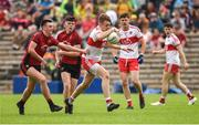 10 June 2018; Oisin McWilliams of Derry in action against Josh Connery and Shane Annett of Down during the Eirgrid Ulster GAA Football U20 Championship match between Down and Derry at St Tiernach's Park in Clones, Monaghan. Photo by Oliver McVeigh/Sportsfile