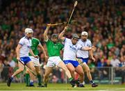 10 June 2018; Graeme Mulcahy of Limerick in action against Noel Connors of Waterford during the Munster GAA Hurling Senior Championship Round 4 match between Limerick and Waterford at the Gaelic Grounds in Limerick. Photo by Eóin Noonan/Sportsfile