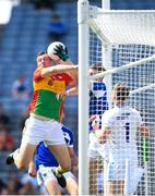 10 June 2018; Mark Timmons of Laois collects the ball on their goal line despite the attention of Darragh Foley of Carlow during the Leinster GAA Football Senior Championship Semi-Final match between Carlow and Laois at Croke Park in Dublin. Photo by Stephen McCarthy/Sportsfile
