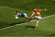 10 June 2018; Paul Broderick of Carlow is blocked down by Gareth Dillon of Laois during the Leinster GAA Football Senior Championship Semi-Final match between Carlow and Laois at Croke Park in Dublin. Photo by Piaras Ó Mídheach/Sportsfile