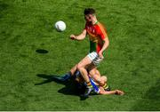 10 June 2018; Ciarán Moran of Carlow accidentally collides with Stephen Attride of Laois, before Attride had to leave the field with an injury, during the Leinster GAA Football Senior Championship Semi-Final match between Carlow and Laois at Croke Park in Dublin. Photo by Piaras Ó Mídheach/Sportsfile