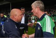 10 June 2018; Waterford manager Derek McGrath shakes hands with Limerick manager John Kiely following the Munster GAA Hurling Senior Championship Round 4 match between Limerick and Waterford at the Gaelic Grounds in Limerick. Photo by Eóin Noonan/Sportsfile