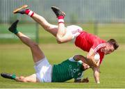 10 June 2018; Darren Marks of Louth in action against Martin Carroll of London during the GAA Football All-Ireland Senior Championship Round 1 match between London and Louth at McGovern Park in Ruislip, London. Photo by Matt Impey/Sportsfile