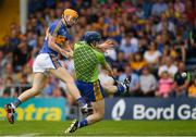 10 June 2018; Tipperary's Jake Morris fires a shot past the Clare goalkeeper, late in the game, only to have the sliothar hit a post during the Munster GAA Hurling Senior Championship Round 4 match between Tipperary and Clare at Semple Stadium in Thurles, Tipperary. Photo by Ray McManus/Sportsfile