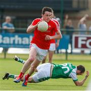 10 June 2018; Tommy Durnin of Louth in action against Gerard Byrne of London during the GAA Football All-Ireland Senior Championship Round 1 match between London and Louth at McGovern Park in Ruislip, London. Photo by Matt Impey/Sportsfile