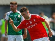 10 June 2018; Ronan Holcroft of Louth celebrates after scoring his side's first goal during the GAA Football All-Ireland Senior Championship Round 1 match between London and Louth at McGovern Park in Ruislip, London. Photo by Matt Impey/Sportsfile