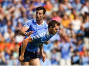 10 June 2018; Michael Darragh MacAuley, left, celebrates with Dean Rock who scored his side's first goal during the Leinster GAA Football Senior Championship Semi-Final match between Dublin and Longford at Croke Park in Dublin. Photo by Daire Brennan/Sportsfile