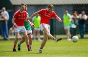 10 June 2018; Ronan Holcroft of Louth shoots to score his side's first goal during the GAA Football All-Ireland Senior Championship Round 1 match between London and Louth at McGovern Park in Ruislip, London. Photo by Matt Impey/Sportsfile