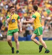 10 June 2018; Leo McLoone of Donegal, right, celebrates with Patrick McBrearty after scoring his side's first goal during the Ulster GAA Football Senior Championship Semi-Final match between Donegal and Down at St Tiernach's Park in Clones, Monaghan. Photo by Oliver McVeigh/Sportsfile