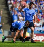 10 June 2018; Michael Darragh MacAuley, right, celebrates with Dean Rock, after Rock scored his side's first goal during the Leinster GAA Football Senior Championship Semi-Final match between Dublin and Longford at Croke Park in Dublin. Photo by Daire Brennan/Sportsfile