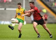 10 June 2018; Jamie Brennan of Donegal  in action against Peter Turley of Down during the Ulster GAA Football Senior Championship Semi-Final match between Donegal and Down at St Tiernach's Park in Clones, Monaghan. Photo by Oliver McVeigh/Sportsfile