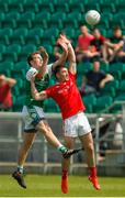 10 June 2018; Mark Gottsche of London in action against Derek Maguire of Louth during the GAA Football All-Ireland Senior Championship Round 1 match between London and Louth at McGovern Park in Ruislip, London. Photo by Matt Impey/Sportsfile