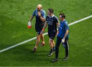 10 June 2018; Dublin goalkeeper Stephen Cluxton leaves the field after picking up an injury after he was tackled after the ball by James McGivney of Longford, for which McGivney was shown the red card by referee Maurice Deegan, during the Leinster GAA Football Senior Championship Semi-Final match between Dublin and Longford at Croke Park in Dublin. Photo by Piaras Ó Mídheach/Sportsfile