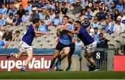 10 June 2018; Con O'Callaghan of Dublin in action against Daniel Mimnagh, left, and Diarmuid Masterson of Longford during the Leinster GAA Football Senior Championship Semi-Final match between Dublin and Longford at Croke Park in Dublin. Photo by Daire Brennan/Sportsfile