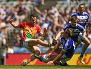 10 June 2018; Diarmuid Walshe of Carlow in action against Damien O'Connor of Laois during the Leinster GAA Football Senior Championship Semi-Final match between Carlow and Laois at Croke Park in Dublin. Photo by Daire Brennan/Sportsfile