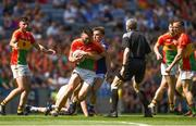 10 June 2018; Shane Redmond of Carlow in action against Ross Munnelly of Laois during the Leinster GAA Football Senior Championship Semi-Final match between Carlow and Laois at Croke Park in Dublin. Photo by Daire Brennan/Sportsfile