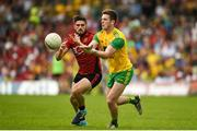 10 June 2018; Eoghan Ban Gallagher of Donegal in action against Connaire Harrison of Down during the Ulster GAA Football Senior Championship Semi-Final match between Donegal and Down at St Tiernach's Park in Clones, Monaghan.  Photo by Philip Fitzpatrick/Sportsfile