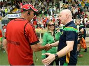 10 June 2018; Down Manager Eamonn Burns and Donegal manager Declan Bonner shake hands after the Ulster GAA Football Senior Championship Semi-Final match between Donegal and Down at St Tiernach's Park in Clones, Monaghan. Photo by Oliver McVeigh/Sportsfile