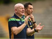 10 June 2018; Donegal manager Declan Bonner, left, along with Karl Lacey assistant Manager during the Ulster GAA Football Senior Championship Semi-Final match between Donegal and Down at St Tiernach's Park in Clones, Monaghan.  Photo by Oliver McVeigh/Sportsfile
