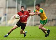 10 June 2018; Connaire Harrison of Down  in action against Leo McLoone of Donegal during the Ulster GAA Football Senior Championship Semi-Final match between Donegal and Down at St Tiernach's Park in Clones, Monaghan. Photo by Oliver McVeigh/Sportsfile