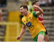 10 June 2018; Jamie Brennan of Donegal celebrates after scoring a goal during the Ulster GAA Football Senior Championship Semi-Final match between Donegal and Down at St Tiernach's Park in Clones, Monaghan. Photo by Philip Fitzpatrick/Sportsfile
