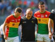 10 June 2018; Carlow manager Turlough O'Brien leaves the field with Chris Crowley, left, and Simon Doyle after the Leinster GAA Football Senior Championship Semi-Final match between Carlow and Laois at Croke Park in Dublin. Photo by Daire Brennan/Sportsfile
