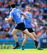 10 June 2018; Dean Rock, right, is congratulated by his Dublin team-mate Michael Darragh Macauley who provided the assist for their first goal during the Leinster GAA Football Senior Championship Semi-Final match between Dublin and Longford at Croke Park in Dublin. Photo by Stephen McCarthy/Sportsfile
