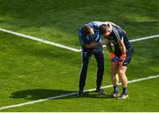 10 June 2018; Dublin goalkeeper Stephen Cluxton is treated by a medic after he was tackled after the ball by James McGivney of Longford, for which McGivney was shown the red card by referee Maurice Deegan, during the Leinster GAA Football Senior Championship Semi-Final match between Dublin and Longford at Croke Park in Dublin. Photo by Piaras Ó Mídheach/Sportsfile