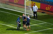10 June 2018; Dublin goalkeeper Stephen Cluxton is treated by medics after he was tackled after the ball by James McGivney of Longford, for which McGivney was shown the red card by referee Maurice Deegan, during the Leinster GAA Football Senior Championship Semi-Final match between Dublin and Longford at Croke Park in Dublin. Photo by Piaras Ó Mídheach/Sportsfile