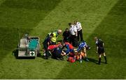 10 June 2018; Stephen Attride of Laois gets medical attention after accidentally colliding with Ciarán Moran of Carlow during the Leinster GAA Football Senior Championship Semi-Final match between Carlow and Laois at Croke Park in Dublin. Photo by Piaras Ó Mídheach/Sportsfile