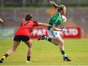 9 June 2018; Shauna Hamilton of Fermanagh in action against Adair Trainor of Down during the TG4 Ulster Ladies IFC semi-final match between Down and Fermanagh at Healy Park in Omagh, County Tyrone. Photo by Oliver McVeigh/Sportsfile