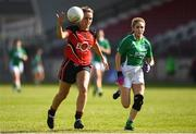 9 June 2018; Kate McKay of Down in action against Sarah Britton of Fermanagh during the TG4 Ulster Ladies IFC semi-final match between Down and Fermanagh at Healy Park in Omagh, County Tyrone. Photo by Oliver McVeigh/Sportsfile