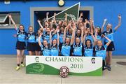 10 June 2018; O'Moore's Co Laois, team celebrate after the Division 4 Camogie shield final, at the John West Féile na nGael national competition which took place this weekend across Connacht, Westmeath and Longford. This is the third year that the Féile na nGael and Féile Peile na nÓg have been sponsored by John West, one of the world's leading suppliers of fish. The competition gives up-and-coming GAA superstars the chance to participate and play in their respective Féile tournament, at a level which suits their age, skills and strengths. Photo by Matt Browne/Sportsfile