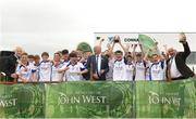 10 June 2018; Cian Boran captain of Naas Co Kildare, lifts the trophy after the Division 2 Hurling final, at the John West Féile na nGael national competition which took place this weekend across Connacht, Westmeath and Longford. This is the third year that the Féile na nGael and Féile Peile na nÓg have been sponsored by John West, one of the world's leading suppliers of fish. The competition gives up-and-coming GAA superstars the chance to participate and play in their respective Féile tournament, at a level which suits their age, skills and strengths. Photo by Matt Browne/Sportsfile