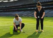 10 June 2018; Volunteers from the GAA Museum and the Croke Park Community team taking up sections of the Croke Park pitch following the Leinster GAA Football Championship Semi-Finals on Sunday 10th June. These unique potted pieces of Croke Park are now on sale for €10 in the GAA Museum gift shop for a limited period. All profits from the sale of these pots will go to the Official GAA Charities for 2018 – Mayo Roscommon Hospice Foundation, Cavan Monaghan Palliative Care, Kerry Hospice Foundation, Jack and Jill Children's Foundation and Concern. Pictured are Lauren Burke, left, and Niamh Toolan, both from Glasnevin. Croke Park, Dublin. Photo by Piaras Ó Mídheach/Sportsfile