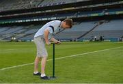10 June 2018; Volunteers from the GAA Museum and the Croke Park Community team taking up sections of the Croke Park pitch following the Leinster GAA Football Championship Semi-Finals on Sunday 10th June. These unique potted pieces of Croke Park are now on sale for €10 in the GAA Museum gift shop for a limited period. All profits from the sale of these pots will go to the Official GAA Charities for 2018 – Mayo Roscommon Hospice Foundation, Cavan Monaghan Palliative Care, Kerry Hospice Foundation, Jack and Jill Children's Foundation and Concern. Pictured is Eoin O'Connor, from Swords. Croke Park, Dublin. Photo by Piaras Ó Mídheach/Sportsfile