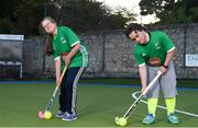 13 June 2018; The Irish ParaHockey ID team today announced Off The Ball as their shirt sponsor ahead of the European ParaHockey Tournament in Barcelona. Pictured are Hannah Winston of Three Rock Rovers HC and Harry Gaw of Monkstown HC at the Three Rock Rovers HC, Grange Road in Rathfarnham, Dublin. Photo by Harry Murphy/Sportsfile